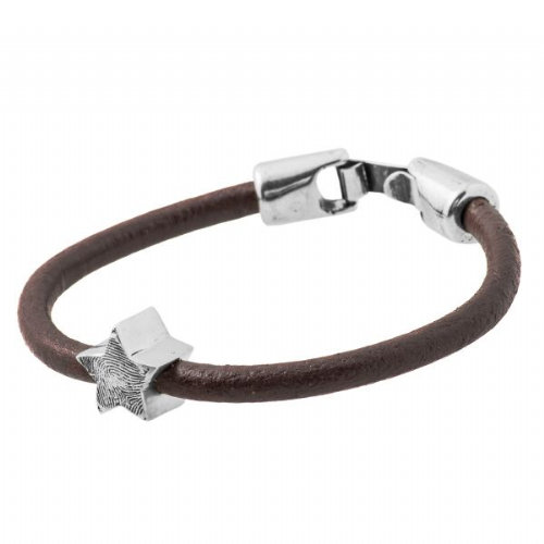 Star Fingerprint Bead Leather Bracelet.